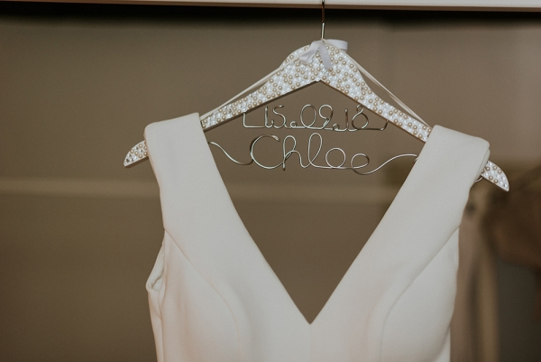 Pearl & Crystal Wedding Coat Hanger With Names & Date