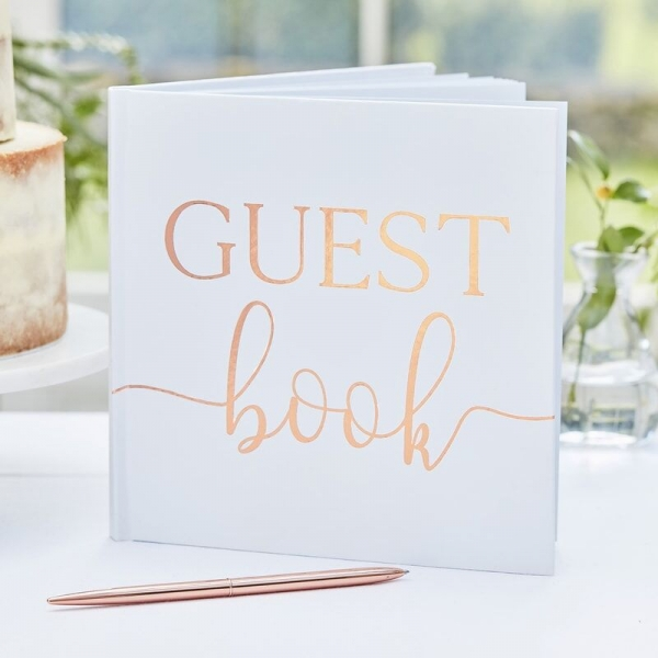 White & Rose Gold Foil Guest Book