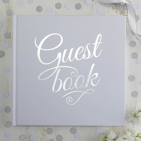 white silver foil wedding guest book