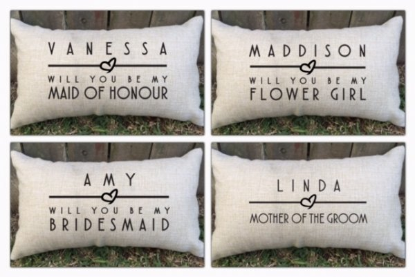 Personalised Bridal Party Lumbar Cushions
