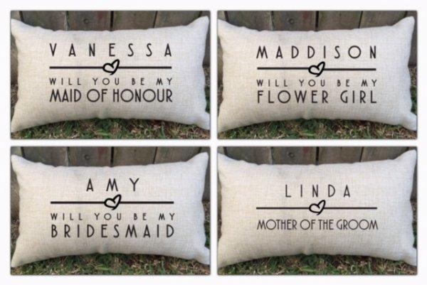 Personalised Bridal Party Lumbar Cushions