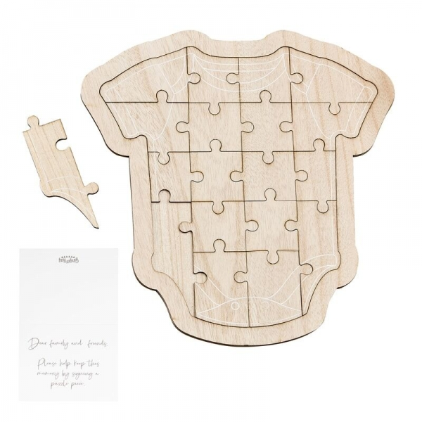 Wooden Baby Onesie Jigsaw Puzzle Guest Book