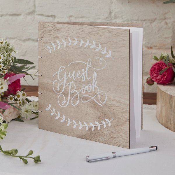 Wooden Boho Wedding Guest Book