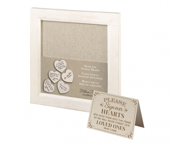 Square Wooden Heart Rustic Signature Frame Box