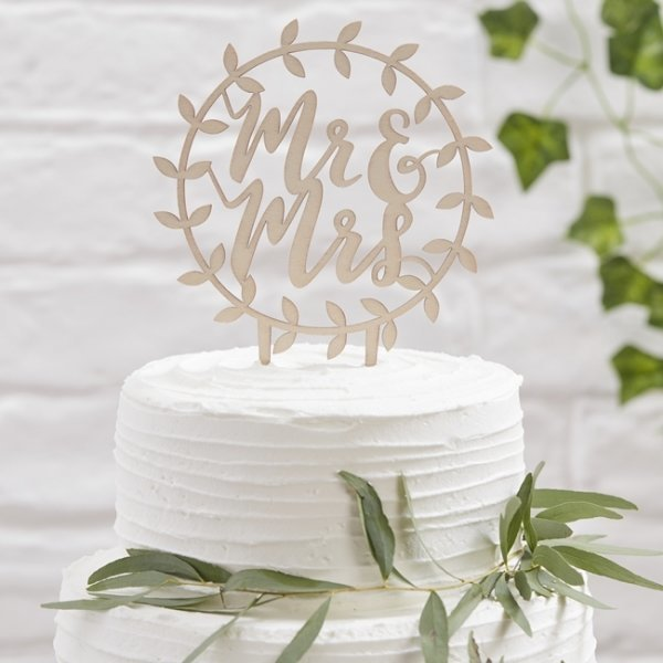 Mr & Mrs Wooden Scripted Cake Topper