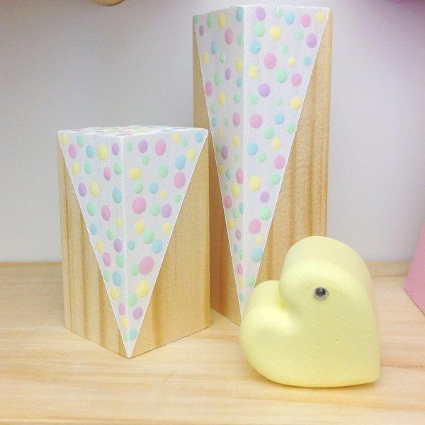 Wooden Pastel Rainbow Confetti Sticks - Set of 2