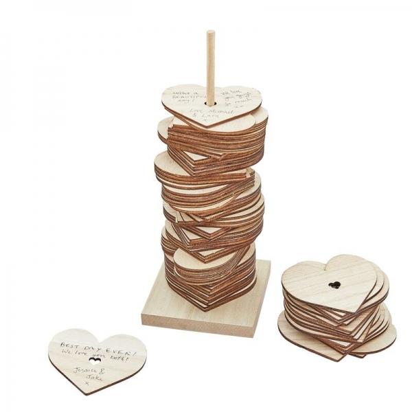 Wooden Stacking Heart Guest Book Alternative