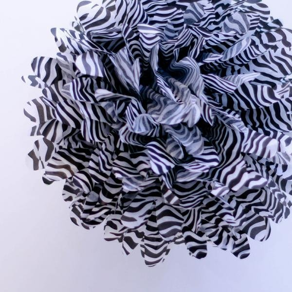 Zebra Tissue Pom Poms - Pack of 4