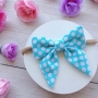 Aqua Blue & White Polka Dot Sailor Bow Headband or Clip