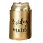 Metallic Black & Gold Bridesmaid Stubby Cooler