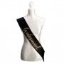 Black & Gold Glitter Satin Bridesmaid Sash
