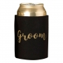 Black & Gold Groom Stubby Cooler