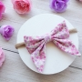 Dainty Pink & Purple Floral Baby Girls Hair Bow