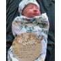 Floral 3D Hello World Baby Announcement Plaque