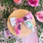 Polka Dot Floral Hair Bow Clip or Headband