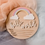 Pastel Rainbow 3D Birth Announcement Wooden Plaque