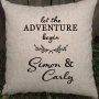 Let The Adventure Begin Couples Personalised Wedding Cushion - Gift