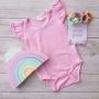 Marshmallow Pink Short Sleeve Flutter Onesie