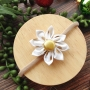 White & Metallic Gold Polka Dot Fabric Flower Girls Headband