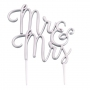 Metallic Silver Mr & Mrs Wedding Cake Pick Topper