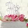 Metallic Silver Mr & Mrs Wedding Cake Pick Topper