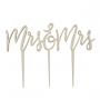 Wooden Boho Mrs & Mrs Cake Pick Topper