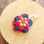 Navy, Pink & Gold Flower Snap Hair Clip