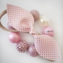 Pale Pink & Gold Spot Leatherette Girls Hair Bow