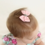 Pale Pink & Metallic Silver Swirl Grosgrain Ribbon Bow Hair Clip or Headband