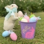 Personalised Metal Easter Bucket With Floral Bunny