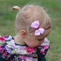 Pastel Pink Tiny Floral Grosgrain Bow Hair Clip or Headband