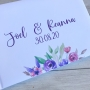 Personalised Bright Pink & Purple Floral Wedding Guest Book
