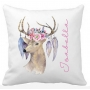 Personalised Girls Floral TRIBAL Deer Colour Pillow
