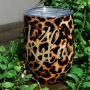 Leopard Print Personalised Wine Tumbler Cup 12oz