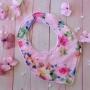 Rosie Pink Floral Handmade Fabric Baby Girls Bib