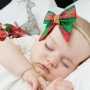 Red & Green Christmas Tartan Girl's Hair Bow