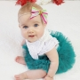 Red, Green & White Stripe Christmas Bow Headband or Clip