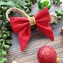Red & Gold Stardust Fabric Christmas Bow Headband or Clip