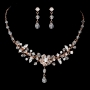 Rose Gold & Clear Swarovski Crystal Bridal Necklace Set