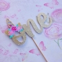 Sparkling Glitter Unicorn Birthday Cake Toppers
