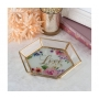 Watercolour Floral Love Glass Trinket Tray Ring Dish