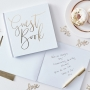 White & Metallic Gold Foil Wedding Guest Book