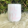 White Personalised Insulated Wine Tumbler Cup 12oz