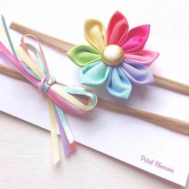 Pastel Rainbow Princess Fabric Baby Headband Set