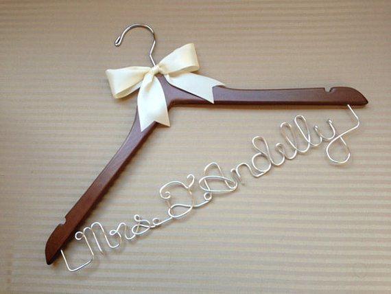 Personalised Wedding Coat Hanger With Bow
