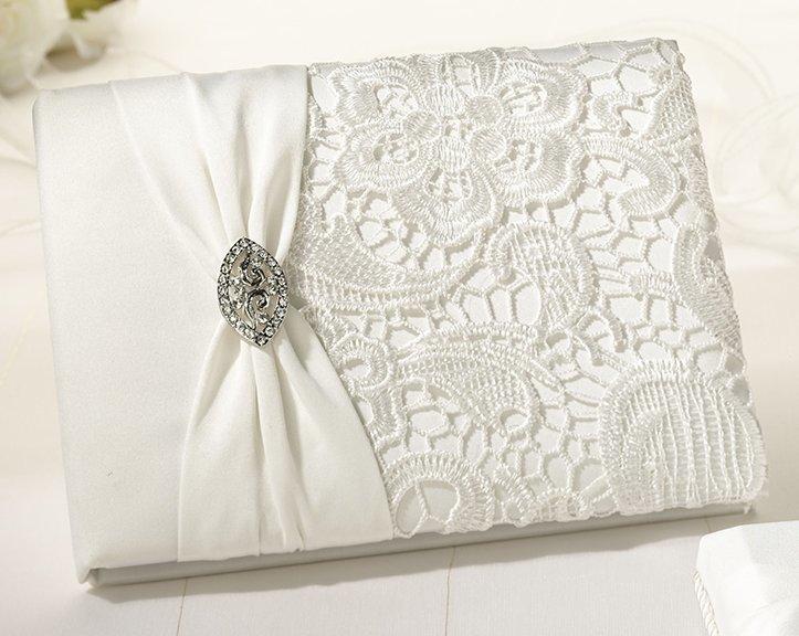 Vintage Cream Lace Wedding Guest Book