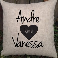 Funky Heart With Names & Date Personalised Pillow