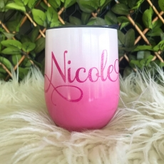 Hot Pink Ombre Personalised Insulated Wine Tumbler Cup 12oz