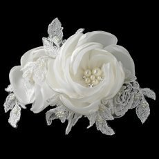 Ivory Satin Lace Rose Clip With Accents