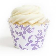Lavender Filigree Cupcake Wrappers - Pack of 12